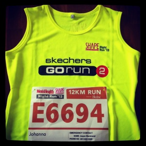 My top and bib for the Shape NIght Run which takes place on Sep 7, 2013.