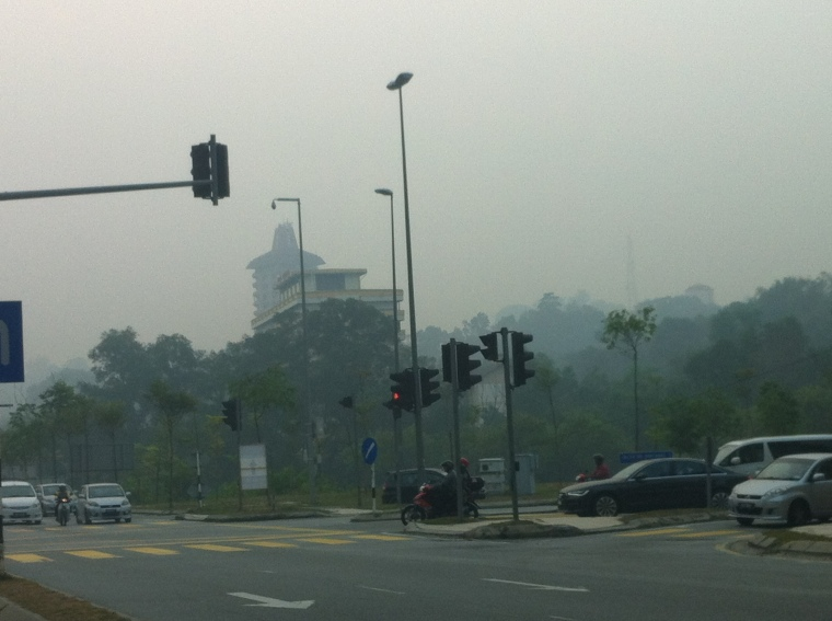 Tourist expecting to see the Petronas Twin Towers today will be disappointed. They're there, somewhere, honest.