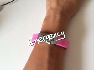 My friend Lorna's pretty pink ID bracelet