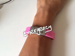 My friend Lorna's pretty pink ID bracelet