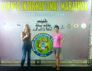 With my friend Joanne who ran her first full marathon at Borneo. What an amazing feat - in the heat!