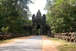 The south gate of Angkor Thom at the 19km mark.