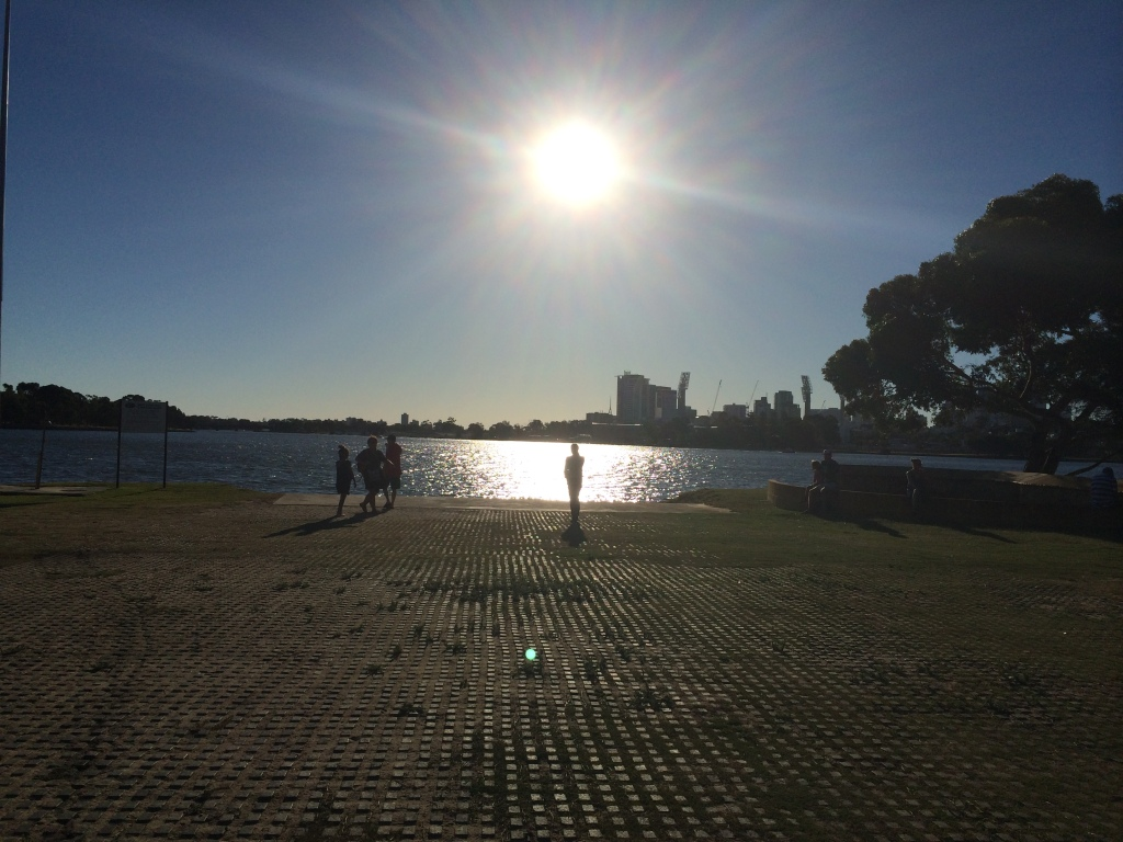 Sun going down over the Swan River at the WAMC rooms in Burswood.