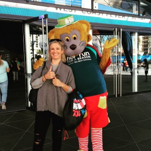 The HBF Run for a Reason mascot wearing the event t-shirt.